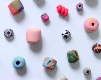 MYSTERY GRAB BAG ~ Polymer Clay Beads Striped Dotted Handmade Jewelry Materials Random Surprise Sale