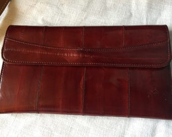 Vintage eelskin wallet from the 1970s and beautiful oxblood red.