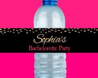 Bachelorette Party Water Bottle Labels - Printable Bachelorette Water Bottle Labels - PERSONALIZED Bachelorette Water Bottle Labels - Gold