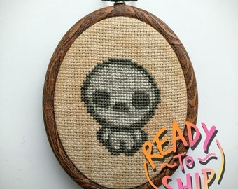 "Binding of Isaac Pride Cross Stitch in 3.5"" Oval Hoop"