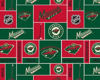 NHL MINNESOTA WILD Hockey 100% Fleece fabric material by the 1/2 yard liscensed for Crafts, Quilts, clothing and Home Decor