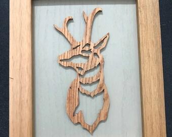 Pronghorn Antelope Framed Wooden Scroll Cut Art
