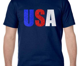 4th Of July Men's USA Glitter Cool Graphic T-Shirt