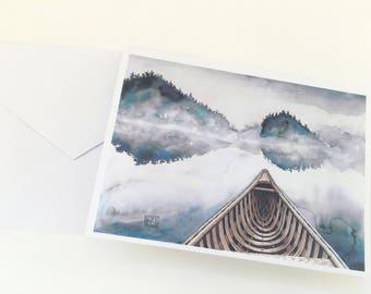 Watercolor canoe greeting cards, set of 8 cards and envelopes, watercolor landscape, printed original artwork,watercolor cards