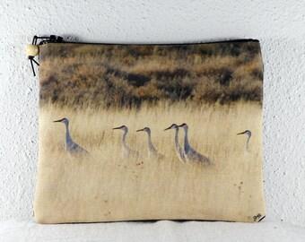 Cotton Coin Purse with Bosque del Apache Sandhill Cranes in the Grass Photo Print