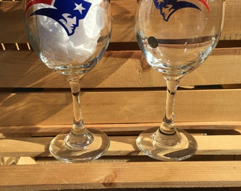New England Patriots Football Wine Glass