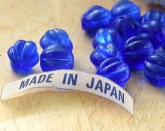 12 Cobalt Blue Glass Vintage Japanese Beads. 9mm Vintage Fluted Cobalt Glass Beads.  Royal Blue Vintage Glass Beads.  Blue Melon Beads.