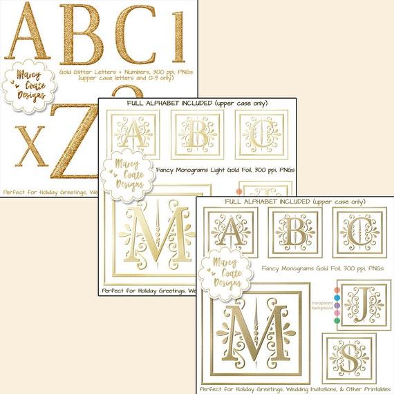Gold Glitter Alphas & Gold Foil Alphas Bundle: 3 sets of PNG alphabets for invitations, digiscrap alphas, wedding clipart, wedding monograms