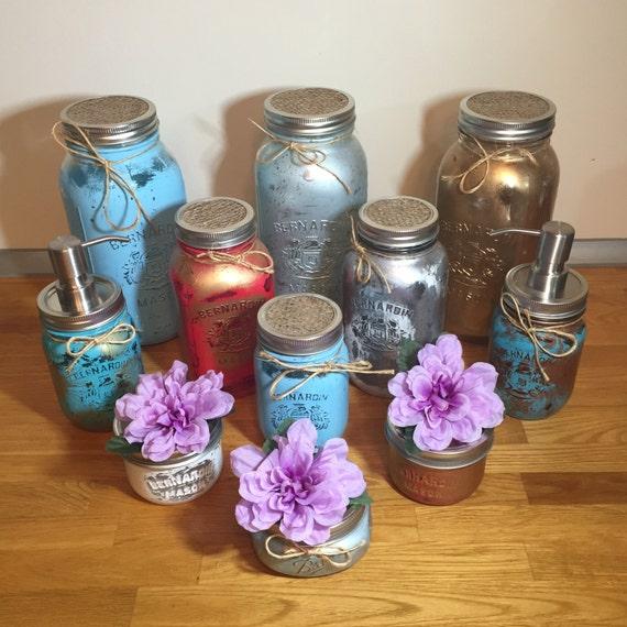 Mason Jar Kitchen Decor Set: Teal Gold Mason Jar Kitchen Canister Set