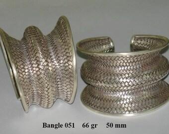 Karen Hill Tribe Silver Handwoven Cuff Bracelet -Sterling Silver Bracelet -Silver Bracelet Women