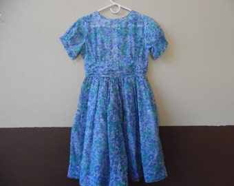 Vintage Girl's Cinderella Brand Sheer Floral Dress Shirley Temple Style Blue