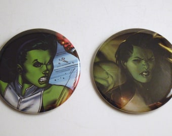 """She-Hulk 2.25"""" Recycled Comic Button Set of 2"""