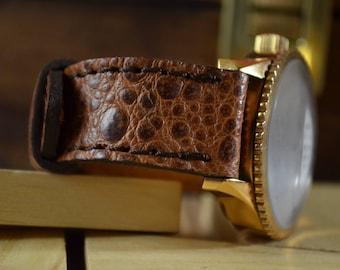 MA watch strap  22 20 18 mm Genuine Toad Skin Havana Matte I fits Breitling, Rolex, Omega, etc. Toad Havana Matte I Classic Style Handmade