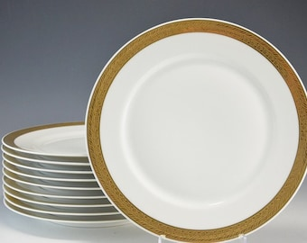 10 Bohemia Ceramic Works of Czechoslovakia Gold Encrusted Band Salad Dessert Lunch Plates 1921-1945