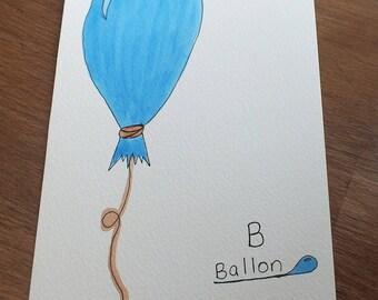 Illustration watercolor 5x7po primer, ball