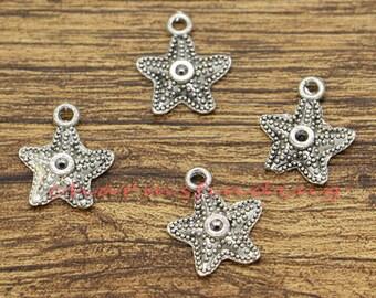 50pcs Starfish Charms Beach Charm Antique Silver Tone 14x17mm cf2806