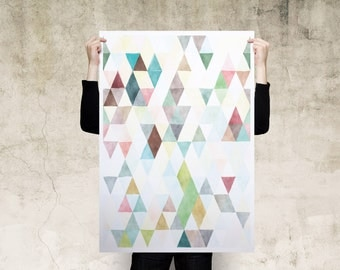 Watercolour Triangles Art Print Poster