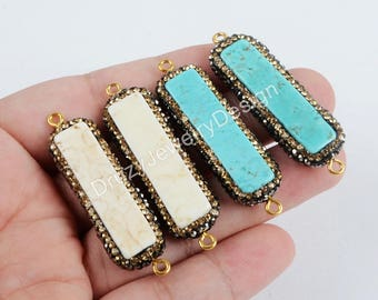 3pieces,Rhinestone Pave Connector,Rectangle Connector,White Connector,Natural How-lite Turquoise Connector,Howlite Stone,JD623-JB