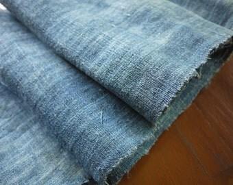 Length of hand dyed indigo recycled hemp fabric (4 m) - handwoven textile - old recycled hemp - antique indigo