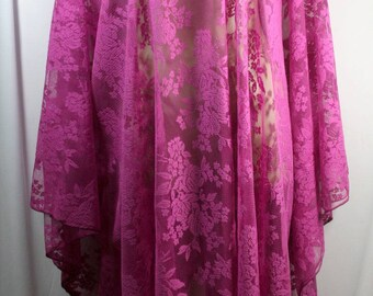 Plus size poncho style top/tunic, beautiful magenta lace or net fabric, size 3X-4X