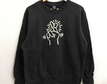 RARE!!! Keith Haring PopArt Big Logo Crew Neck Dark Grey Colour Sweatshirts Hip Hop Swag L Size