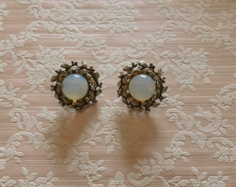 Vintage Moonglow Clip On Earrings Silver Tone, Gift for Her, Birthday Gift, Vintage Jewelry, Jewellery, Intricate Wreath Like Border
