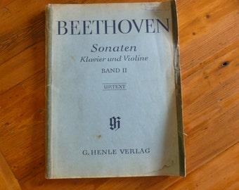 Vintage Sheet Music Book, Beethoven Sonaten Klavier und Violine, Band II, Sonata Piano and Violin, 1950 Copyright, Published in Germany