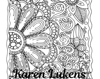 Big Bloom, 1 Adult Coloring Book Page, Printable Instant Download, Flowers