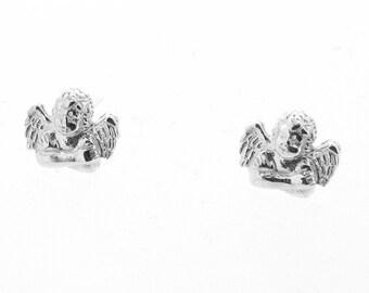 Sterling Silver Guardian Angel Stud Earrings