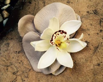 Tropical Orchids Beige and White silk flower hair clip