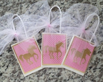 Pink And Gold Unicorn Party Favor Bags - Set Of Six