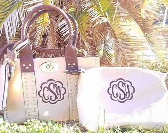 Monogrammed Purse and cosmetic bag set in Beige- Personalized handbags