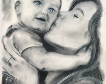 CUSTOM PORTRAITS made to order, graphite, pastel, charcoal art, personalized drawing or painting using a photo reference