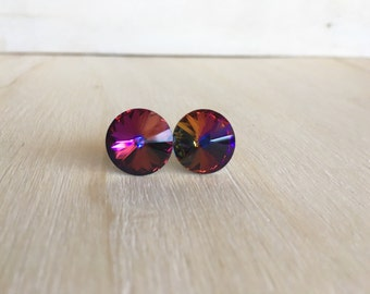 Swarovski Crystal Stud Earrings, Crystal earring post, Rivoli stud earrings, Swarovski Rivoli earrings, Pair earrings