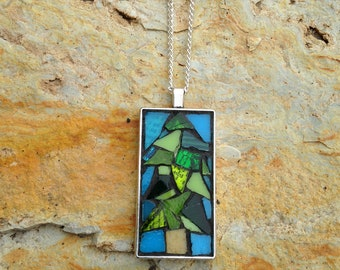 Mosaic Necklace/Mosaic Tree Necklace/Stained Glass Mosaic Pendant Necklace/Mosaic Necklace/Mosaic Tree Pendant/Stained Glass Jewelry/P94