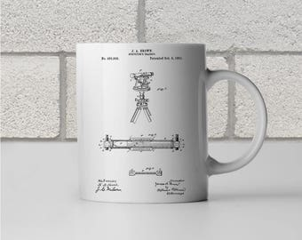Surveyors Transit Patent Art Mug Gift, Surveyor Mug, Surveyor Gift, Theodolite, Engineer Gift, Civil Engineering, Civil Engineer Gift