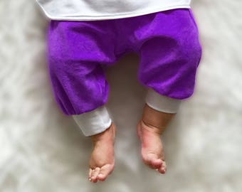 Baby Trousers, Purple and White Trousers, Organic