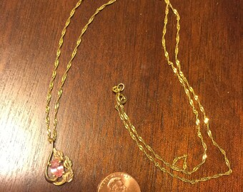 Pink Gem Stone 10k Gold Pendant Necklace