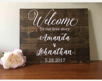 Wedding Welcome Sign//Wedding Sign//Wood Sign//Rustic Wedding//24x36