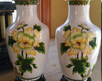 Pair of White Ground Cloisonné Vases with Stands