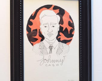 Johnny Cash Original Art W/Frame