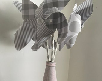 Paper Spinner Pinwheel, Gray & White Spinner Pinwheel, Party Favor, Pinwheel Centerpiece, Pinwheel Cake Topper