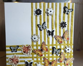 Butterfly and flowers blank greetings card