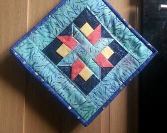 Handmade Batik star pieced pot holder/ hot mat