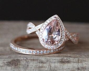 2pcs Morganite Ring Set VS 6*8mm Pear Cut Morganite Ring Crossed Ring Band Half Eternity Diamonds Wedding Ring Set 14K Rose Gold Ring Set