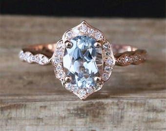 Floral Halo Aquamarine Engagement Ring VS 6*8mm Oval Cut Aquamarine Ring Vintage Gemstone Ring Stackable Promise Ring 14K Rose Gold Ring