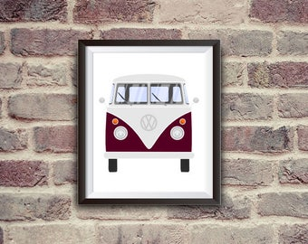 vw kombi, camper van, vw poster, vw california, transporter, instant download, wall decor, printable art, vintage art
