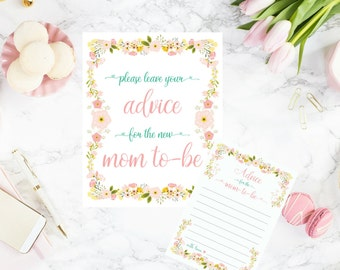 DIY PRINTABLE Advice for Mom to Be Sign and Advice Cards | Calligraphy Floral Instant Download Baby Shower Print Set | Mom to Be | AnnaB024