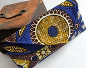African Print Checkbook Wallet, Cloth Wallet, Boho Wallet, Small Bag, African Clutch, Royal blue Clutch, Brown Clutch, African Bag