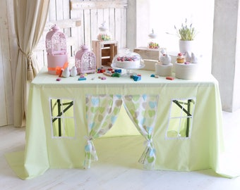 Green Tablecloth Playhouse/ Baptism decoration/ Playhouse for kids/ Fabric play tent/ Kids game/ Kids party decoration/ Tablecloth house